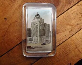Antique Paperweight- Photograph Souvenir Paperweight - CPR Royal York Hotel Toronto - Canada Souvenir Paperweight