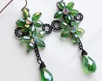 Bridesmaid earrings - long earrings - crystal earrings - green earrings - green jewellery