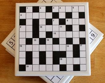 4 Puzzle Coasters,Crossword Coaster,Sudoku Coaster,Chess Coaster,Bingo Coaster,Games Night,Set of Coasters,Ceramic Coasters,Drinks Coaster