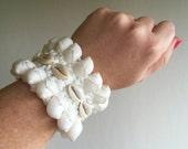 ON SALE! 70% OFF !!! Shell Wrist Cuff, Ankle Cuff,  Beach Wedding, Ankle Cuff, Bridal, Christmas Present, Kris Kringle, Secret Santa