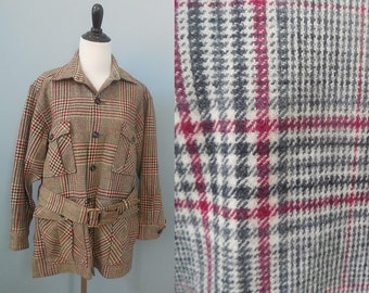 Vintage WOOLRICH coat PLAID wool JACKET belted field jacket womens medium