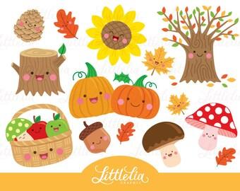 Autumn kawaii - autumn clipart - 16048