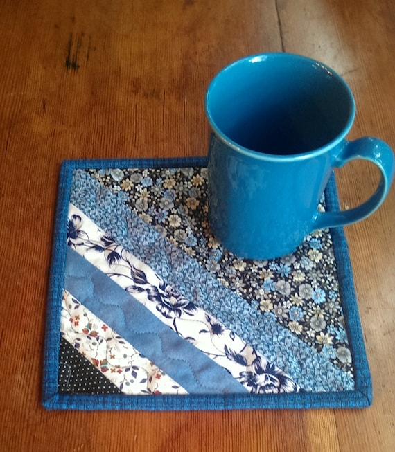 Quilted Mug Rug Drink Mat. Blue And White. Snack Mat