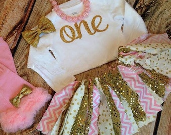 Pink and Gold Sparkley First Birthday Outfit | Fabric Tutu 1st Birthday Outfti for Baby Girls