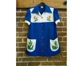 Vintage cactus embroidered uniform smock top
