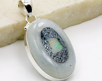 Fire In Me Natural Ethiopian Opal & .925 Sterling Silver Pendant AD832