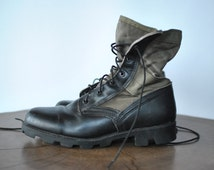 Vintage ARMY COMBAT BOOTS , vintage leather and canvas military boots ....
