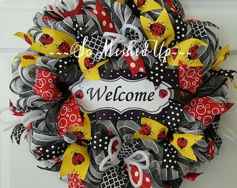 Ladybugs everywhere! The perfect wreath for Spring & Summer!