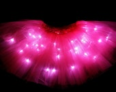Adult Hot Pink LED Light up Tutu Skirt with Batteries fit Womens XS to XL