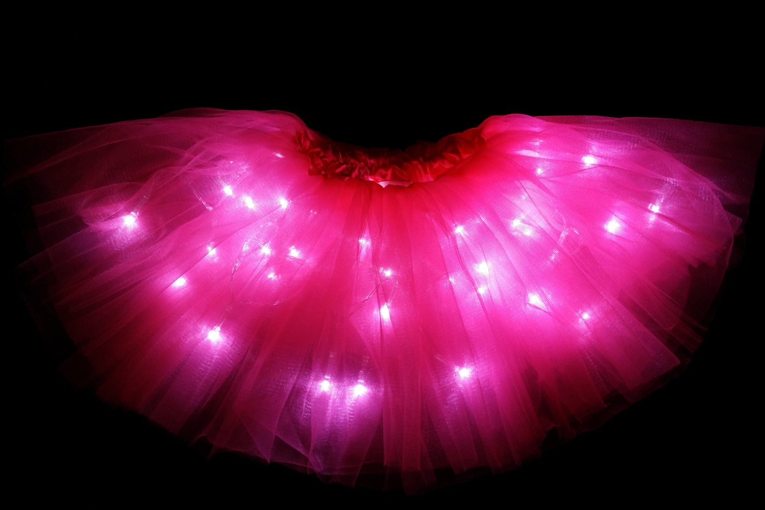 Child Neon Pink LED Light Up Tutu Skirt With Batteries Fit Toddler 2 To Girls 8