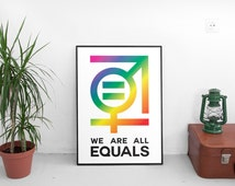 We Are All Equal, digital download, colorful print, civil rights poster, freedom, original art, gay rights, equality symbol