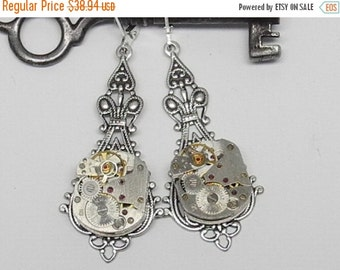 ON SALE Steampunk Earrings Vintage Watch Movement Latch back Lever Back Industrial Wedding Jewelry Victorian Steam punk Simple Diversions