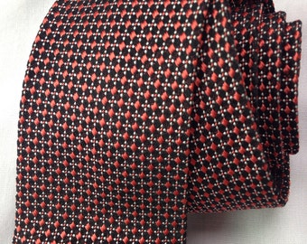 1950s Haband black rayon skinny tie