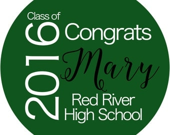 Graduation Green Personalized Stickers , Class of 2016 High School or College Custom School Colors Available