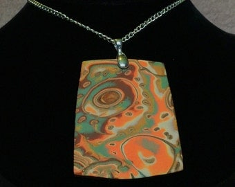 Pendant: Orange, Green and Brown Handcrafted Mokume Gane Polymer Clay Pendant