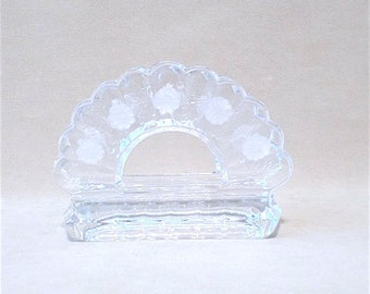 Vintage 80's Clear Cut Crystal Napkin Holder with Laurel Pattern and Scalloped Edge Design, Heavy Crystal, Leaded Crystal, Classic Style