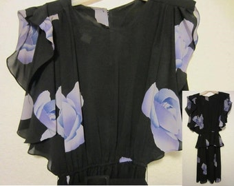 "Vintage 80's Cocktail Dress, ""Dawn Jay"" Chiffon Sleeveless Peplum Belted Black Dress w/ Purple Roses, Classic Shoulder Pads Ladies Fashion"