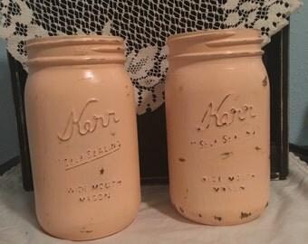Painted Mason Jar Vintage/ Rustic look