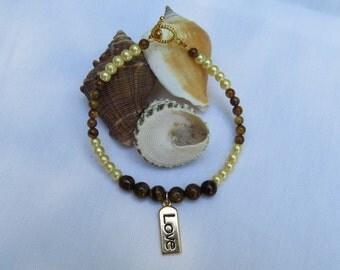 Tiger eye and Gold Pearl Bracelet , Glass Beaded Bracelet, Charm Bracelet, Woman's Jewelry