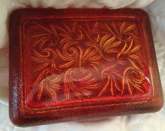 Orange Glass Rectangle Dish With Lid