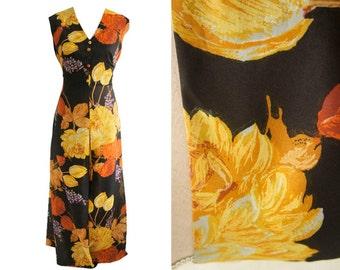 Sheer vintage maxi dress. XL. Sheer black yellow and orange party dress. XL 70s vintage evening dress. Black, yellow and orange floral dress