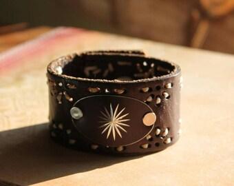 Starburst upcycled belt cuff