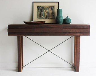 wood console, modern console, modern console table, walnut table, modern walnut console