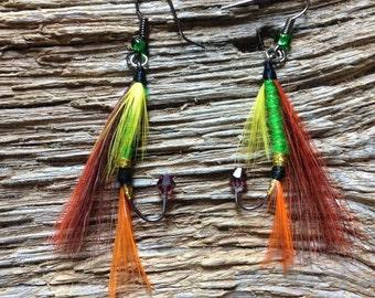 Steelhead trout fly fishing fly earrings: orange, green, yellow, and maroon fly earrings