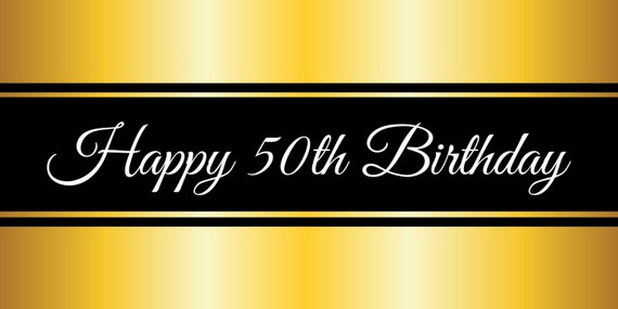 Happy 50th Birthday Gold Banner