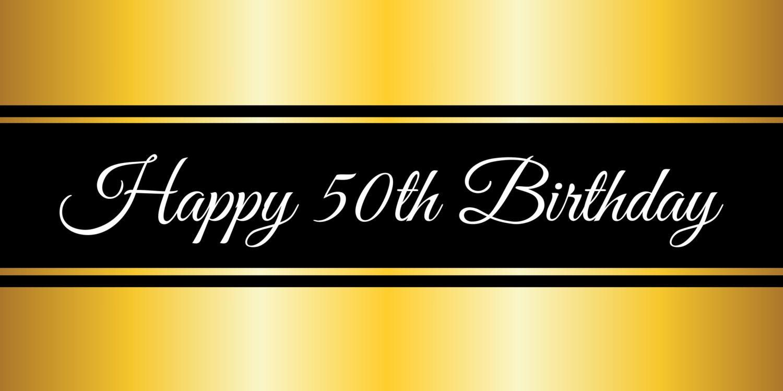 Happy 50th Birthday Gold Banner