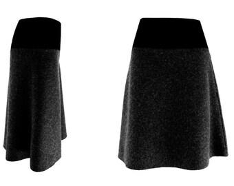 wool knee length, skirt, jersey, XS,S,M,L