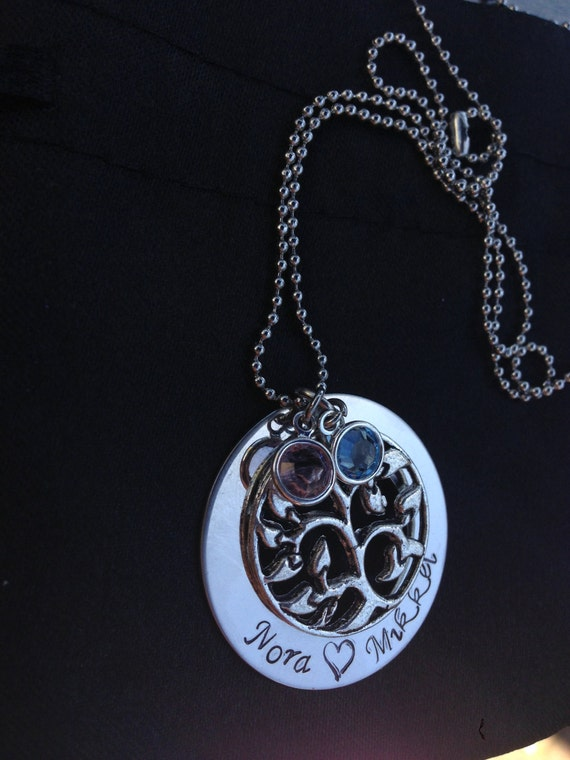 Personalized Necklace with Family Tree Charm and birthstones- Great Gifts for Mums and Grandmas
