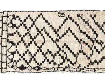 Black Checkers Vintage Moroccan Beni Ouarain Rug - Handmade Carpet 100% Wool - Hand woven 279x135cm 109x53 inches