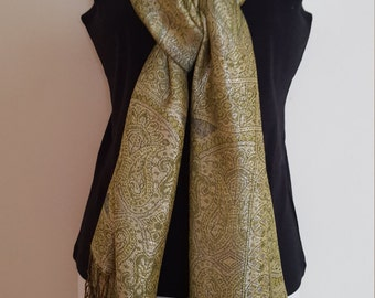Nice Beautiful Pashmina Scarf Lime Green with Gold Color
