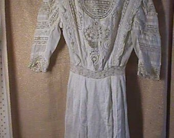 Antique Edwardian White Cotton dress with laces, Small, AS IS  #1014