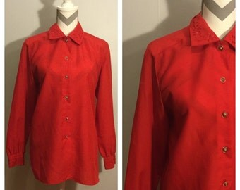 1970s Orare Red Blouse