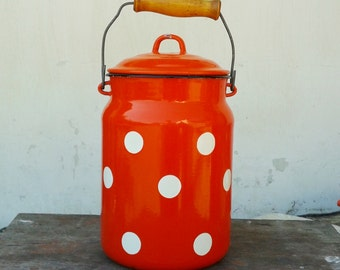 Vintage Soviet Enamel Red Polka Dot milk can with lid - Home decor - Made in USSR