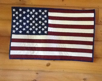 Patriotic flag wall quilt