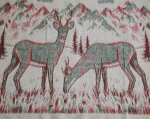 Rustic Deer Blanket, Dorm Ecuador South American Woodsy Pine Trees Teal Green Burgundy Red Cream Stadium Picnic Blanket, Twin Bed Coverlet