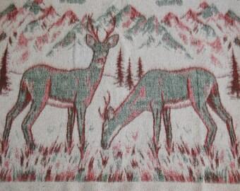 Rustic Deer Blanket, Reversible Woodsy Pine Trees Teal Green Burgundy Red Cream Stadium Picnic Blanket, Deer Hunter Dorm Twin Bed Coverlet
