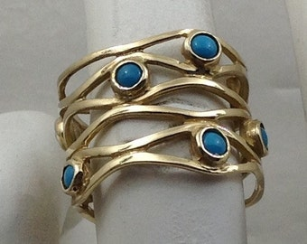 14kt gold sleeping beauty turquoise wide ring