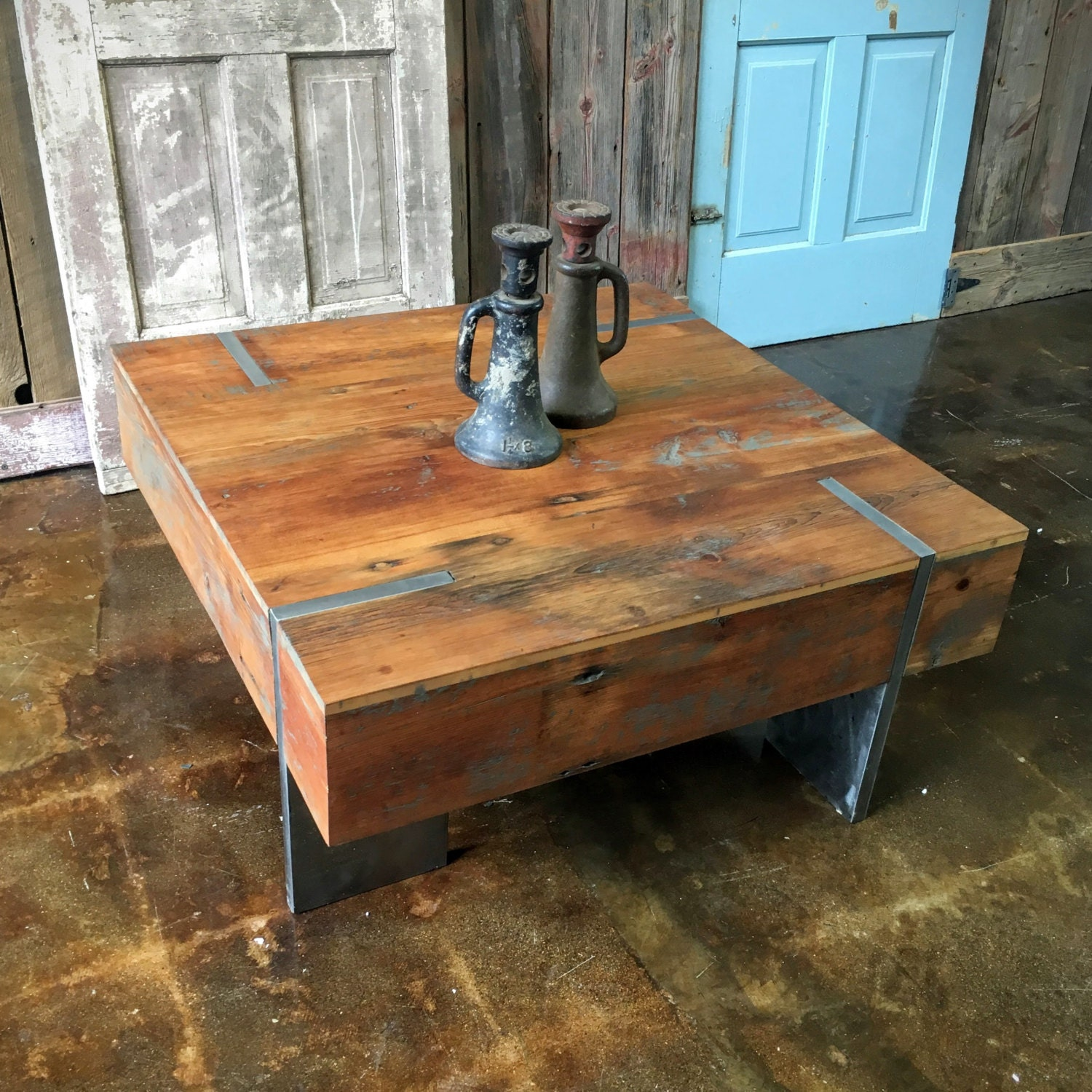 Solid Stainless Steel Coffee Table: Square Modern Reclaimed Coffee Table / Solid Steel Legs IN