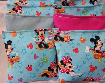 8 ACA Regulation Cornhole Bags -  Minnie Mouse with Mickey and Friends on Blue and Pink