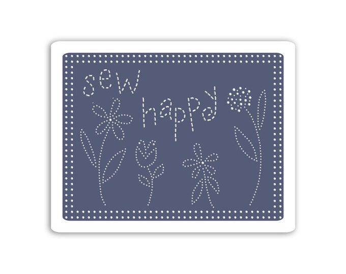New! Sizzix Textured Impressions Embossing Folders - Sew Happy by Eileen Hull 660770