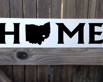 Home Sign Custom Home State Sign Home Decor Sign 6x20 Home is Where the Heart Is Home Sweet Home Sign Wall Decor Custom Personalized Sign