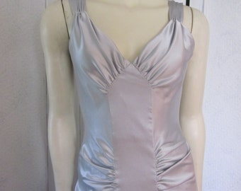 """1990s Silver Satin Gown, Designed by """"Linda Bernell,"""" Size 4 - 6"""