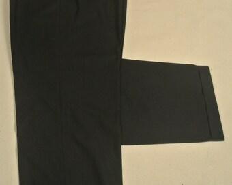 Hart Schaffner Marx Black Worsted Wool Dress Pleat Trousers Men's Waist Size: 39