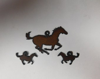 Horse Charm with Matching earrings made out of rusted metal