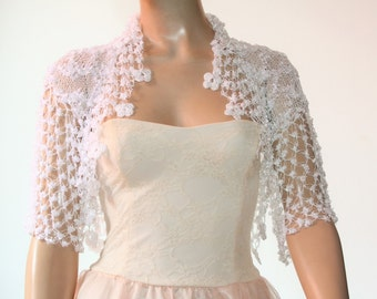 Wedding Bridal Bolero Shrug Lace Crochet Knit  Shrug Boleros white