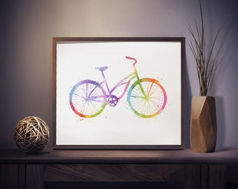 Bike Print - Bicycle Print - Watercolor Bike - Bicycle Art - Bike Watercolor Art - Nursery Decor - Colorful Wall Art - Watercolor Prints